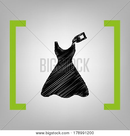 Woman dress sign with tag. Vector. Black scribble icon in citron brackets on grayish background.
