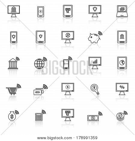 Online banking line icons with reflect on white background, stock vector