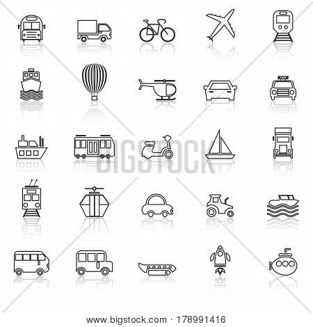Transportation line icons with reflect on white background, stock vector