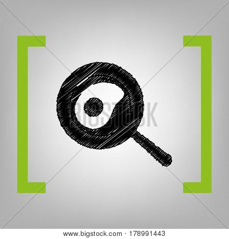 omelette icon vector, solid illustration, pictogram isolated on gray. Vector. Black scribble icon in citron brackets on grayish background.