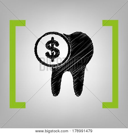The cost of tooth treatment sign. Vector. Black scribble icon in citron brackets on grayish background.