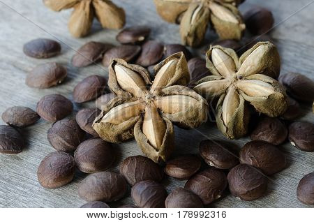 sacha inchi seed herbs use medicinaly omega three on wood background