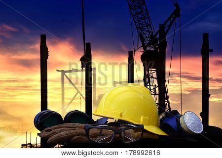 Standard construction safety and construction site background.