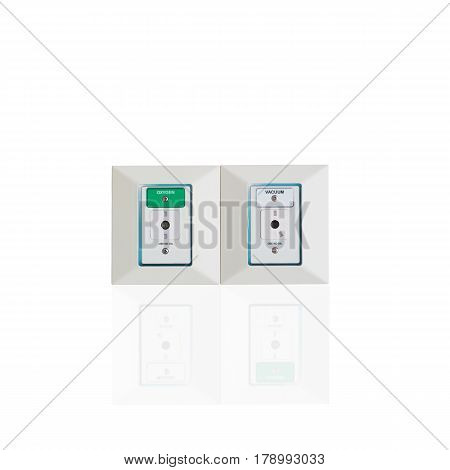 the Oxygen and vacuum ports for patient isolated on white background. clipping path