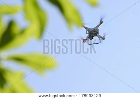 The drone with the professional camera takes pictures.