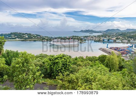 ST LUCIA CARIBBEAN - SEPTEMBER 19 2013: beautiful aerial view of Saint Lucia Caribbean Islands