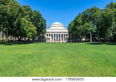 BOSTON MASSACHUSETTS - SEPTEMBER 23 2013: main building of Massachusetts Institute of Technology (MIT) in Cambridge MA USA