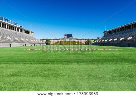 BOSTON MASSACHUSETTS - SEPTEMBER 23 2013: stadium for american football in Harvard University Cambridge MA