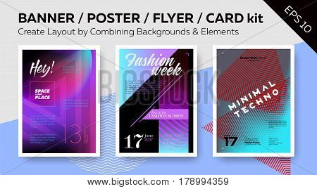Kit for Web Banner Printable Poster Night Club Flyer Greeting Card. Simple Create Layout. Set of Vector Templates with Text Grid. Trendy Geometric Patterns Minimal Design Colorful Backgrounds.