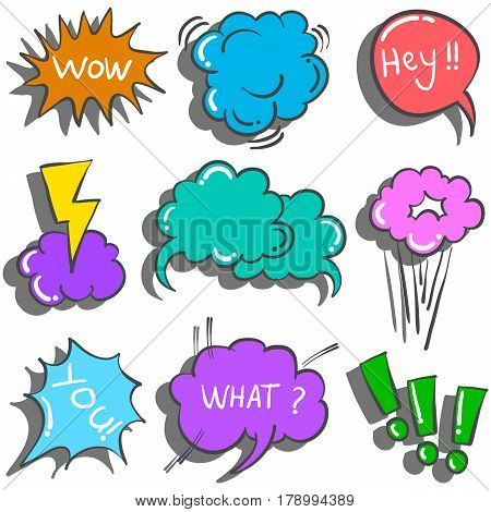 Collection stock of text balloon vector illustration