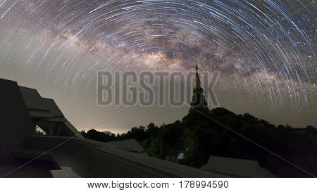 Milky way galaxy at Doi Inthanon, the magnificent relics. The Great Holy Relics Pagoda Nabhamethanidol and Nabhapolbhumisiri at  Chiang Mai, Thailand .
