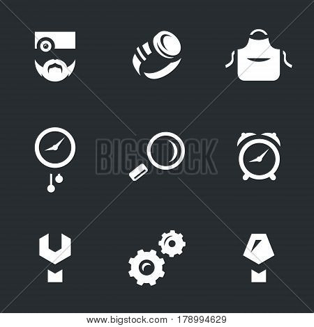Master, wristwatch, apron, wall clocks, magnifier, alarm clock, key, mechanism, screwdriver.