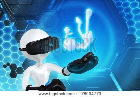The Original 3D Character Illustration Wearing Virtual Reality Goggles Catching A Falling Character