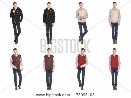 Twin Brothers With Sweaters Isolated Collage