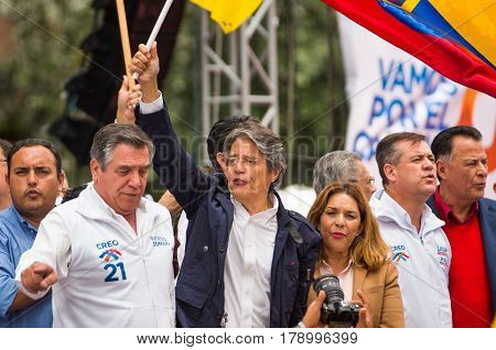 Quito, Ecuador - March 26, 2017: Guillermo Lasso, candidate for the CREO movement, along his binomial, Andres Paez during electoral campaign.