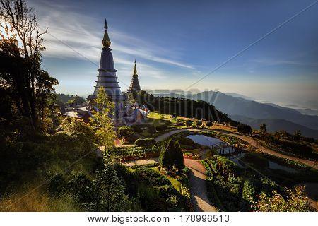 Doi Inthanon, the magnificent relics. Phra Maha Dhatu Nabhamethanidol and Nabhapolbhumisiri (The Great Holy Relics Pagoda Nabhamethanidol and Nabhapolbhumisiri) Chiang Mai, Thailand .