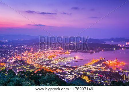 Sasebo, Nagasaki, Japan downtown skyline.