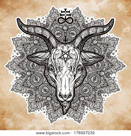 All seeing eye in ornate round mandala pattern with demon Baphomet. Satanic goat head. Mystic, alchemy, occult concept. Design for music cover, t-shirt , boho poster, flyer. Shamanism, religion.