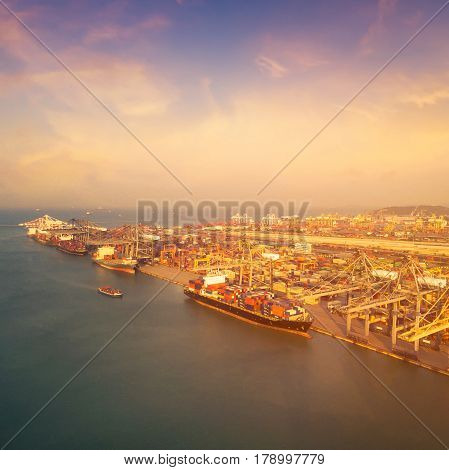 Large Container Shipping Boat At Shipping Yard Main Transportation Of Cargo Container Shipping. Phot