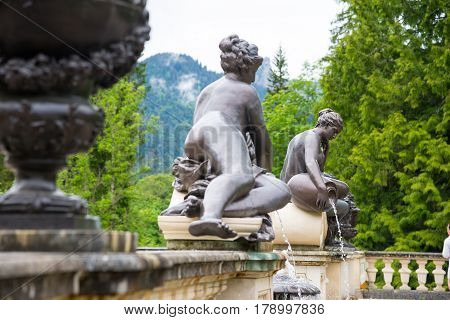Sculpture Of Nymph In Linderhof Palace Park, Germany, Bavaria