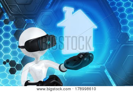 Virtual Realty The Original 3D Character Illustration Wearing Virtual Reality Goggles