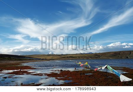 On the shore of sacred Lake Manasarovar (4557m above sea level) in Western Tibet.