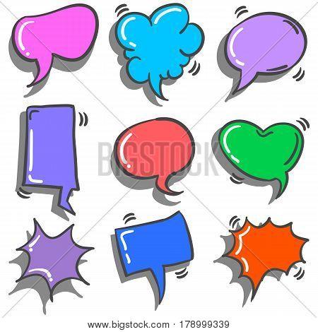 Collection stock of speech bubble doodles vector art