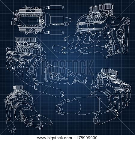 A Set Of Several Types Of Powerful Car Engine. The Engine Is Drawn With White Lines On A Dark Blue S