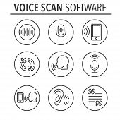 Voiceover or Voice Command Icon with Sound Wave Images Set poster