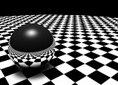 3D render abstract. Metal sphere on a checkered floor. Very high resolution. poster