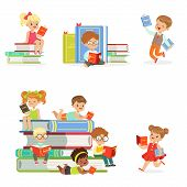 Kids Reading Books And Enjoying Literature Set Of Cute Boys And Girls Loving To Read Sitting And Laying Surrounded With Piles Of Books.Clever Children Readers, Storybooks And Textbooks Cartoon Scenes. poster