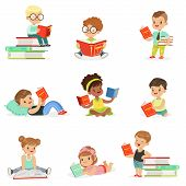 Kids Reading Books And Enjoying Literature Collection Of Cute Boys And Girls Loving To Read Sitting And Laying Surrounded With Piles Of Books..Clever Children Readers, Storybooks And Textbooks Cartoon Scenes. poster