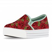 Vector shoes, slip-on with floral print, loafer on a high sole, isolated on white background poster