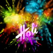Happy Holi festival of colors. Vector holiday illustration of colorful powder paint explosive clouds. Vibrant indian Holi festival background. Poster, banner or wallpaper template poster