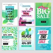 Mobile sale banners collection. Spring sale banners. Vector illustrations of online shopping website and mobile website banners, posters, newsletter designs, ads, coupons, social media banners. poster