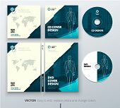 CD envelope, DVD case design. Teal Corporate business template for CD envelope and DVD case. Layout with modern triangle elements and abstract background. Creative vector concept poster