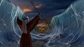 Moses Exodus Route. Crossing the red sea. Part of biblical narrative - escape Israelites. Big waves as open ocean under the dramatic sky. 3D render illustration. poster