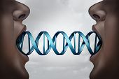 Gene cloning and DNA medical clone technology concept as clones with a double helix molecular structure connecting the two people as a genome biotechnology symbol with 3D illustration elements. poster