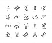 Simple Set of GMO Related Vector Line Icons. Contains such Icons as DNA, Lab Tests, Petri Dish and more. Editable Stroke. 48x48 Pixel Perfect. poster