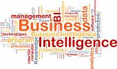 Background concept wordcloud illustration of business intelligence poster