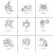 Diarrhea. Causes, symptoms and treatment. Vector set of line icons poster