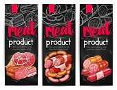 Meat products chalkboard banner template. Beef and pork meat sausages, ham, bacon, salami, smoked frankfurter, pepperoni and chorizo sketches for butcher shop label, meat store menu or flyer design poster