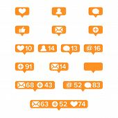 Notifications Icons Template Vector. Social network app symbols of heart like, new message bubble, friend request quantity number. Smartphone application messenger interface web notice poster
