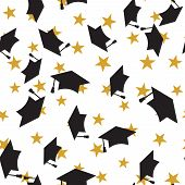 Graduate black hat seamless pattern with golden stars, graduation caps thrown in the air, square academic cap, mortarboard for college, university students, education concept, white background poster