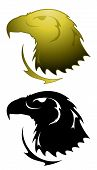 Eagle tattoo symbol in gold and black renderings poster