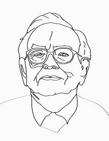 March, 2017: Investor and economist Warren Buffett forecasts stocks maket changes will continue to rise. Warren Buffett line portrait on light gray background, vector illustration