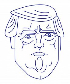 March 2017, US president Donald Trump line vector portrait for logo or other design.