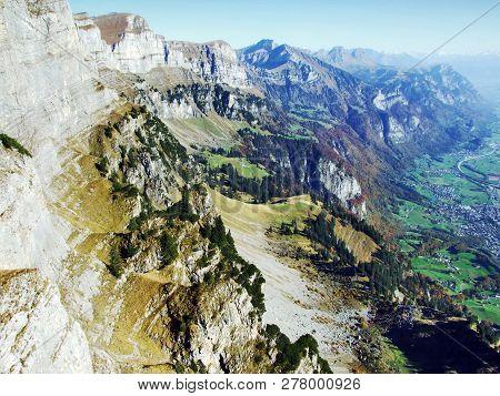 Rocky Alpine Mountain Range Churfirsten Mountain Range, Located Between The Toggenburg Region And La