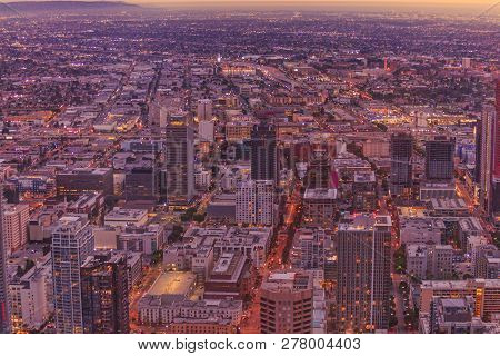 Aerial View Of Los Angeles Skyline In California, United States. Details Of Downtown Of La Cityscape