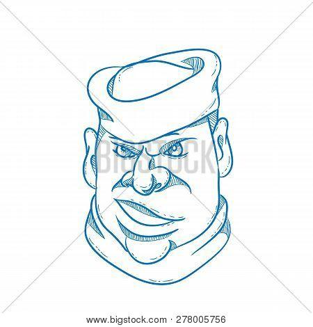 Cartoon Style Illustration Of An Angry Sailor, Sailorman, Seaman, Mariner, Or Seafarer Wearing A Sai